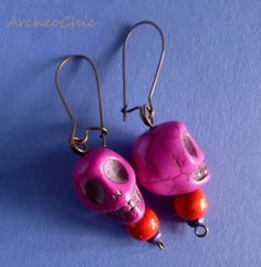 Tribal stone SKULL earrings - pink & red, from ArcheoChic by DaWanda.com