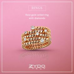 This fun rose gold coiled ring with sparkling round diamonds is eye-catching and perfect for day-to-day wear!