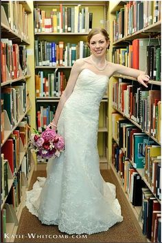wedding/engagement photos at the library...lots of cuteness potential for book lovers, lighting would be rough I bet.