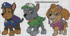 Patrones de punto de cruz de la Patrulla Canina. (Paw patrol Cross stitch patterns)