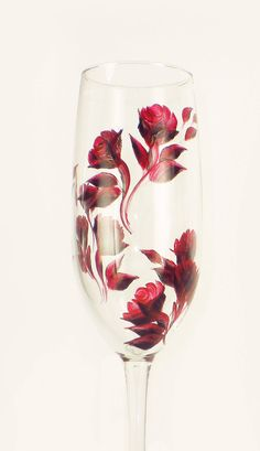 HandPainted Champagne Glasses  Ruby Red Roses by HandPaintedPetals, $42.00