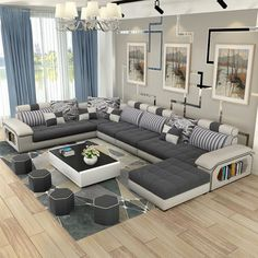 Luxury Living: Cheap couches for living room, Buy Quality design couch directly from China couch design Suppliers: living room furniture modern U shaped fabric corner sectional sofa set design couches for living room with ottoman Living Room Sofa Design, Couch Design, Room Furniture Design, Canapé Design, Design Salon, Living Room Sets, Living Room Modern, Luxury Furniture, Living Room Designs