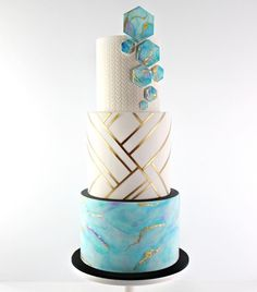 {Liquid Geometry} So excited to have this three tier cake featured in the April Issue of magazine, complete with a comprehensive, step by step tutorial. Am so humbled to have been asked to be a part of this awesome magazine. Pretty Cakes, Beautiful Cakes, Amazing Cakes, Fondant Cake Tutorial, Fondant Cakes, Elegant Wedding Cakes, Wedding Cake Designs, Elegant Cake Design, Geometric Cake