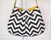 Chevron Purse Handbag Hobo Small Gray Chevron by JanetElizabethLLC