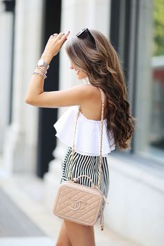 one shoulder top, also love this one// high waisted striped shortsChanel handbag, similar HERE and HERE // Chanel earrings, similar HEREMichele watch // Celine sunglasses, similar HERE // Steve Madde