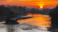 Photo Sunset over Mures River by Dominique Toussaint on Nature Artwork, Beautiful Sunset, Luxury Travel, All Over The World, Planets, Reflection, Sunrise, River, Romania