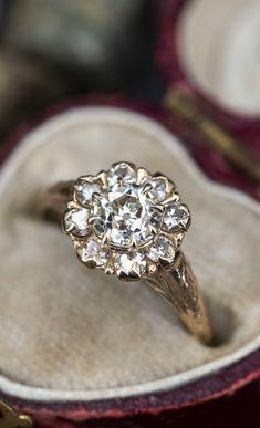 Halo Diamond Engagement Ring, Vintage Engagement Rings, European Cut Diamonds, Timeless Fashion, Diamond Cuts, Heart Ring, Gold, Beautiful, Jewelry