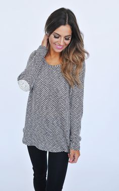 Taupe/Navy Herringbone Knit Top - Dottie Couture Boutique