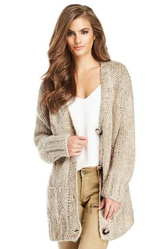 Oversized Open Knit Cardigan in Beige