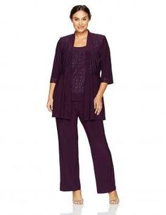 a1a5dbaecb4 R M Richards Plus Size Two Piece Glitter and Lace Pant Set Plus Size Two  Piece