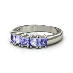 14K White Gold Ring with Tanzanite | Meghan Ring | Gemvara
