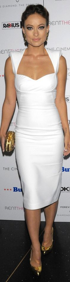 Dazzling white dress.