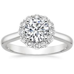 18K White Gold Preset 18K White Gold Signature Lotus Flower Diamond Ring (1/3 ct. tw.) with 1 Carat Round Diamond, top view