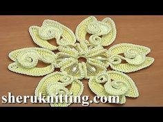 Crochet Long Petal Flower With Spiral Center Tutorial 10 tığ Çiçek - YouTube