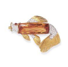An Unusual Topaz, Diamond and Gold Brooch, Tiffany & Co.