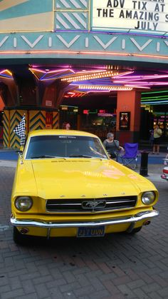 Yellow Mustang is cool Yellow Mustang, American Graffiti, American Muscle Cars, Mellow Yellow, Car Show, California, Amazing, Pictures, Autos