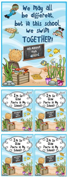 Adorable FREEBIE! Ocean theme poster and note cards! Great way to build classroom community!
