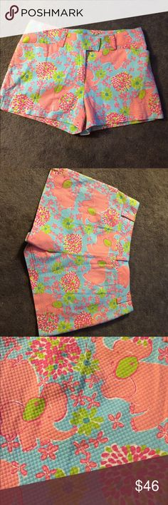 Lilly Pulitzer elephant print shorts size 8 Lilly Pulitzer elephant print shorts size 8.  Super cute cotton shorts with elephant and floral print.  33 inch waist.  12 inches from waist to hem. 3 inch inseam.  Excellent condition. Lilly Pulitzer Shorts