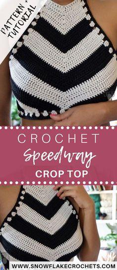 Crochet Diy Crochet Crop Top Pattern and Video Tutorial Speedway Crop Top Crochet Summer Tops, Crochet Halter Tops, Crochet Blouse, Diy Crochet Crop Top, Crochet Womens Tops, Mode Crochet, Crochet Baby, Hat Crochet, Crochet Tree