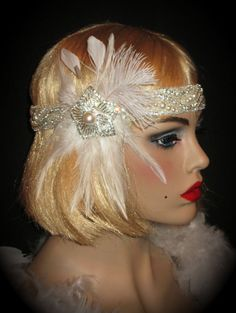 RESERVED FOR DOREE - Gatsby Glitz - Stunning Flapper Headband In Crystals, Pearls & White Feathers For Wedding Or Gatsby Party