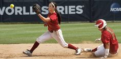 COLLEGE SOFTBALL / UNIVERSITY OF OKLAHOMA / OU: Ali Vandever  takes the throw at second base as a teammate slides into the bag during  practice in preparation for games in the NCAA Women's College World Series at ASA Hall of Fame Stadium Wednesday, May  30,  2012,  Photo by Jim Beckel, The Oklahoman