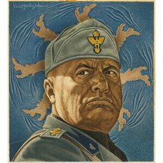 Benito Mussolini by Ernest Hamlin Baker. © Image is copyright of its respective owner, assignees or others. Italian Futurism, Greece History, Kingdom Of Italy, German Soldiers Ww2, Propaganda Art, Italian Army, Book Cover Art, Book Covers, National Portrait Gallery