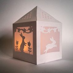 "Image of ""Blossom Bunnies"" Paper Lantern Template"