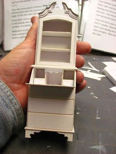 Dollhouse Miniature Furniture - Tutorials | 1 inch minis: 1 INCH SCALE LADIES SECRETARY - How to make a 1 inch scale ladies secretary from mat board.