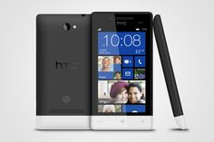 The HTC 8S with Windows Phone 8; this is the black version with white bottom