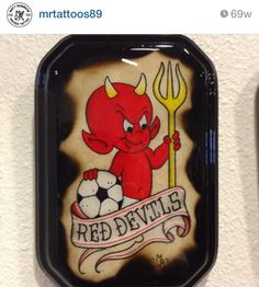 Manchester United utd Red Devils tattoo flash water color painting art by matt robinson