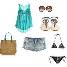 Cute beach outfit.