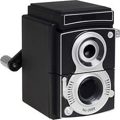 Camera Pencil Sharpener  This crank operated pencil sharpener looks just like a retro camera. A super kool accessory for any desk and a fun teacher's gift.