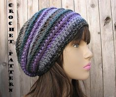 CROCHET PATTERN - Slouchy Hat, Crochet Pattern PDF,Easy, Great for Beg