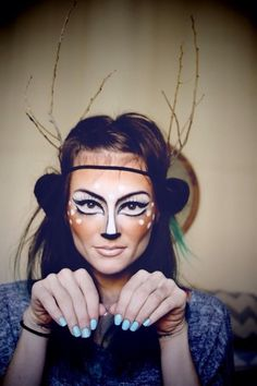 Beautiful deer make up for Halloween