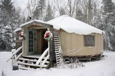 yurt in the snow by longwinterfarm Small Space Living, Tiny Living, Yurt Home, Yurt Living, Gnome House, Unique Buildings, Tiny House Movement, Little Houses, Tiny Houses