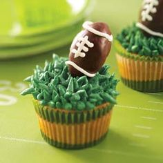 Truffle Football Cupcakes Recipe from Taste of Home -- shared by Kim Barker of Richmond, Texas   #super_bowl_food