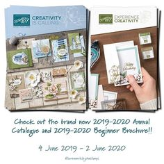 The BRAND NEW Annual Catalogue is HERE! Check out the Catalogue plus there is also a brochure for beginners called Beginners Brochure. Stampin Up, Catalog, Brand New, Birthday, Check, Creative, Instagram, Design, Stamping Up