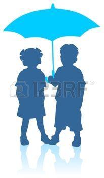 silhouette enfant parapluie: Blue fille et garçon silhouettes avec parapluie. Illustration