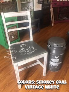 Watch this transformation go down live and get all the supplies you need to turn a brownie frownie tired chair and outdated milk can into something beautiful again!