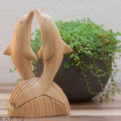 Delfin-Paar, Holz natur, Größe 15 cm