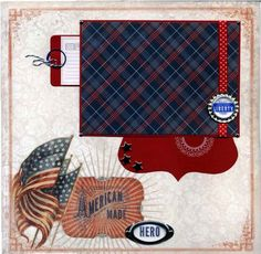 12x12 Premade Scrapbook Page - American Made Hero