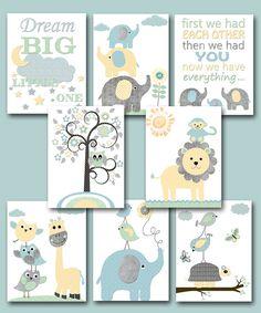Grau blau gelb Mint Baby Dusche Geschenk Leinwand Elefant