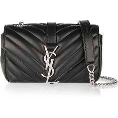 Saint Laurent Baby Chain Monogramme quilted leather shoulder bag (73,825 DOP) ❤ liked on Polyvore featuring bags, handbags, shoulder bags, black, black leather quilted handbag, chain strap crossbody, black crossbody, black cross body purse and chain crossbody