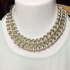 "HOST PICK Sparkling Sage Chunky Link Necklace A WARDROBE ESSENTIAL- By Sparkling Sage! Double Row Chunky Silver Tone Choker Necklace, 16""L with 3"" convenience extender.!Retail $69.00 Sparkling Sage  Jewelry Necklaces"