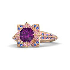 Round Rhodolite Garnet 14K Rose Gold Ring with Pink Tourmaline & Sapphire - Brilliant Lotus Ring | Gemvara