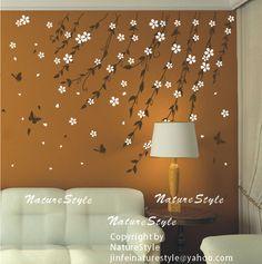 Branch+flowers+with+Butterflies+vine+flower+Vinyl+Wall
