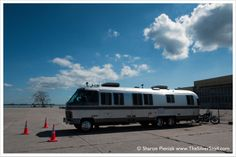 1988 Airstream motorhome with a 1999 Harley Davidson Springer Softail in New York City