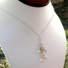 Silver Crystal Necklace, Y Drop Pendant, Swarovski, Teardrop, Handmade Wedding Jewelry. $52.00, via Etsy.