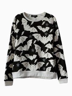 Shop Cute Bat Print Sweatshirt from choies.com .Free shipping Worldwide.