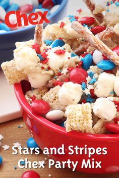 Stars And Stripes Chex Party Mix Chex Recipes Chex com is part of Chex party mix - This patriotic snack from Chex mix is sprinkled with red, white and blue and perfect for serving at a Memorial Day or of July party Chex Mix Recipes, Snack Recipes, Dessert Recipes, Cooking Recipes, Sandwich Recipes, 4th Of July Desserts, Fourth Of July Food, July 4th, 4th July Party